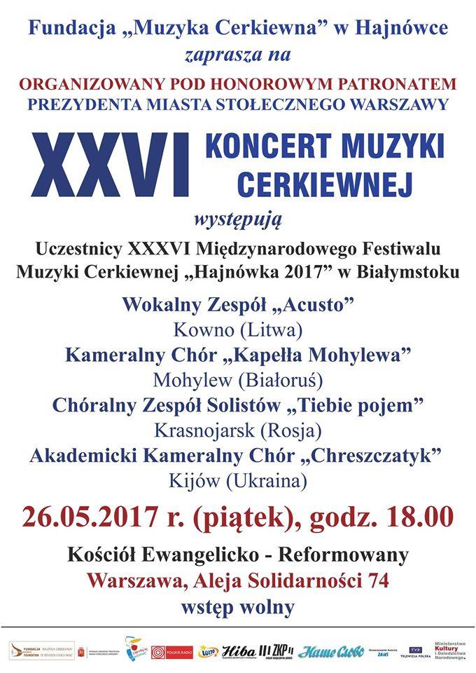 XXVI Koncert Muzyki Cerkiewnej w Warszawie